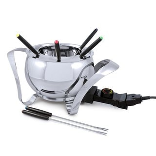Swissmar Montreux 9 Piece Electric Fondue Set, Stainless Steel