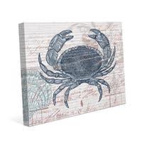 Vintage Blue Crab Canvas Wall Art