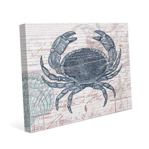 Vintage Blue Crab Canvas Wall Art