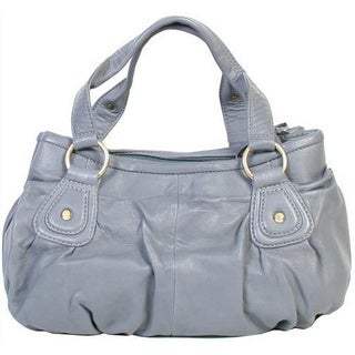Scully Leather Grey Leather Top-zip Double Satchel Handbag