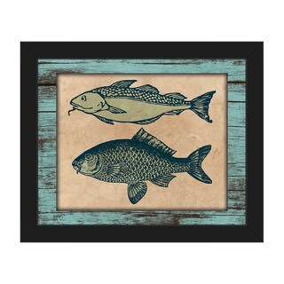 Two Fishes on Teal' Framed Canvas Wall Art