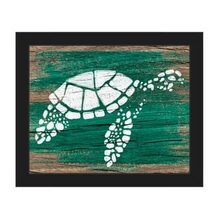 Turtle on Emerald' Framed Canvas Wall Art