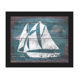 Sails and Seas' Teal Framed Canvas Wall Art