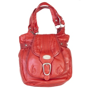 Scully Leather Red Leather Hobo Handbag
