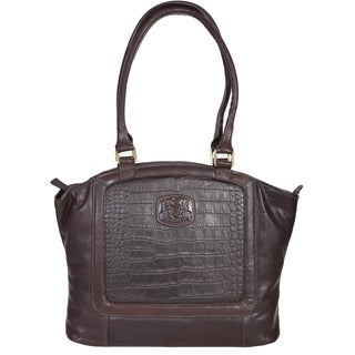 Scully Leather Brown Croco Embossed Shoulder Handbag