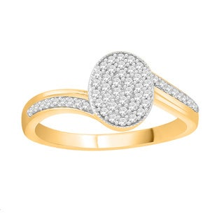 Trillion Designs 14k Yellow Goldplated Sterling Silver 1/5ct TDW Diamond Bypass Cluster Engagement Ring (H-I, I1-I2)