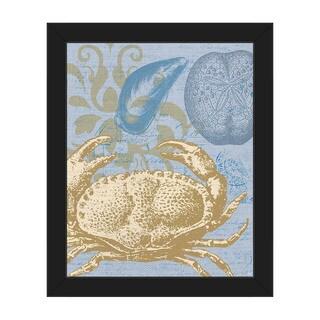 Damask Crab' Light Blue Framed Canvas Wall Art
