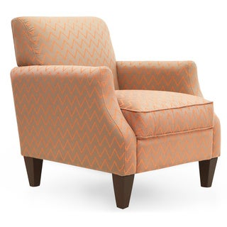 Astoria Brown, Orange Wood and Upholstered Armchair