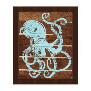 'Octopus Planks' Blue Framed Canvas Wall Art