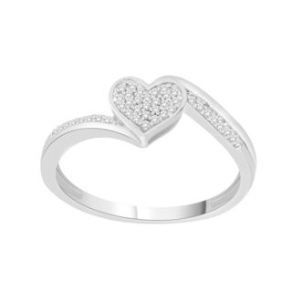Trillion Designs Sterling Silver 1/10ct TDW Round-cut Diamond Heart Cluster Engagement Ring (H-I, I2)