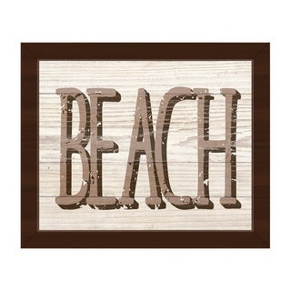 Beach in Brown Framed Canvas Wall Art