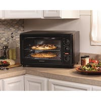 Recertified Hamilton Beach Black Metal Countertop Oven with Convection and Rotisserie