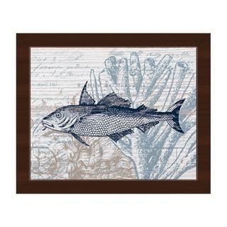 Vintage Blue Fish Framed Canvas Wall Art