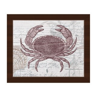 Vintage Red Crab' Framed Canvas Wall Art