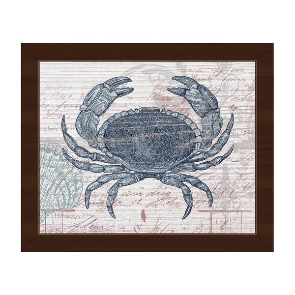 Vintage Blue Crab' Framed Canvas Abstract Wall Art