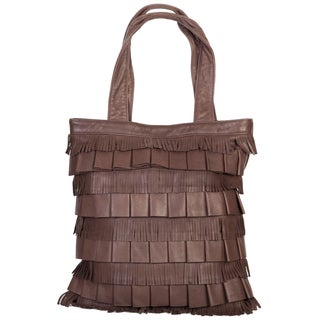 Scully Leather Soft Chocolate Fringe Shoulder Handbag