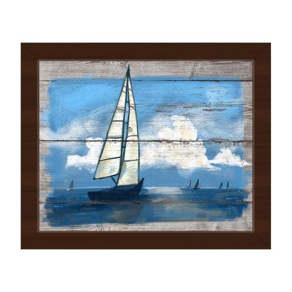 Sailing Away- Blue' Framed Canvas Wall Art