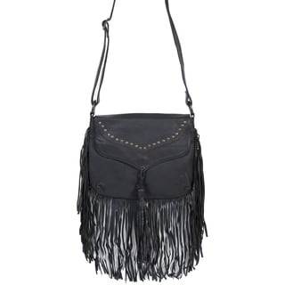 Scully Leather Women's Black Soft Leather Fringe Handbag