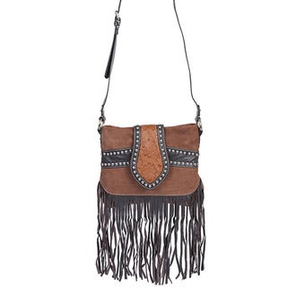 Scully Leather Women's Brown Suede and Leather Fringe Shoulder Handbag