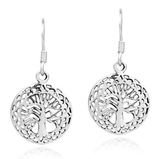 Mystic Celtic Frame Tree of Life Sterling Silver Earrings (Thailand)