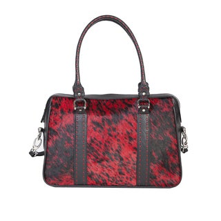 Scully Leather Red and Black Leather Satchel Handbag
