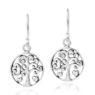 Handmade Filigree Heart Tree of Life Sterling Silver Dangle Earrings (Thailand)