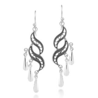 Handmade Thai Princess Swirl Sterling Silver Dangle Earrings (Thailand)