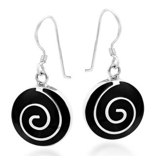 Round Maze Whirl Gemstone Sterling Silver Dangle Earrings (Thailand)