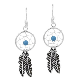 Handmade Dreamcatcher Double Feather Stone Bead .925 Silver Earrings (Thailand)