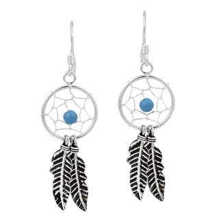 Dreamcatcher Double Feather Stone Bead .925 Silver Earrings (Thailand)