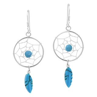 Handmade Turquoise Feather Beaded Dreamcatcher .925 Silver Earrings (Thailand)