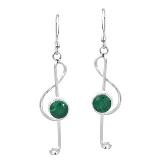Musical Treble Clef Green Malachite .925 Silver Earrings (Thailand)