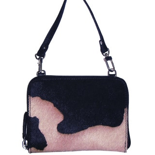 Scully Leather Black and White Leather Crossbody Handbag