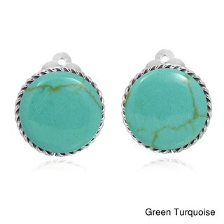 16mm Round Gemstone Botton .925 Silver Clip On Earrings (Thailand)