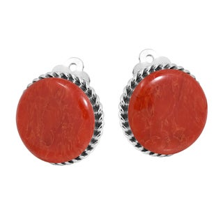 16mm Round Gemstone Botton .925 Silver Clip On Earrings (Thailand)