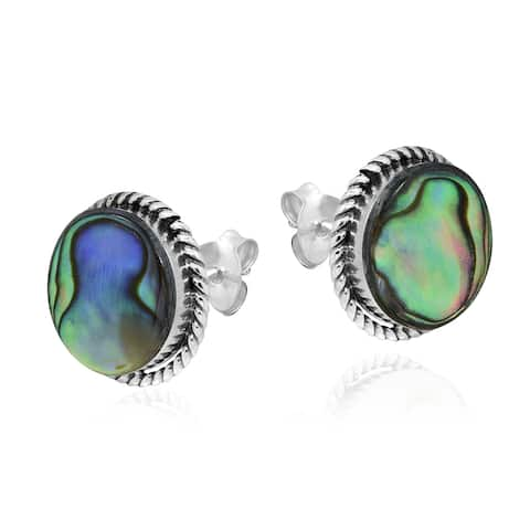 Handmade Exotic 12mm Round Abalone Sterling Silver Stud Earrings (Thailand)