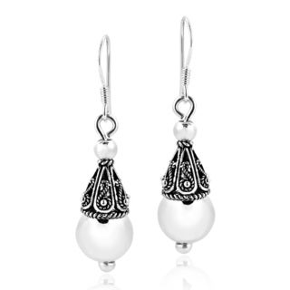 Handmade Gorgeous Thai Filigree Ball Sterling Silver Dangle Earrings (Thailand)