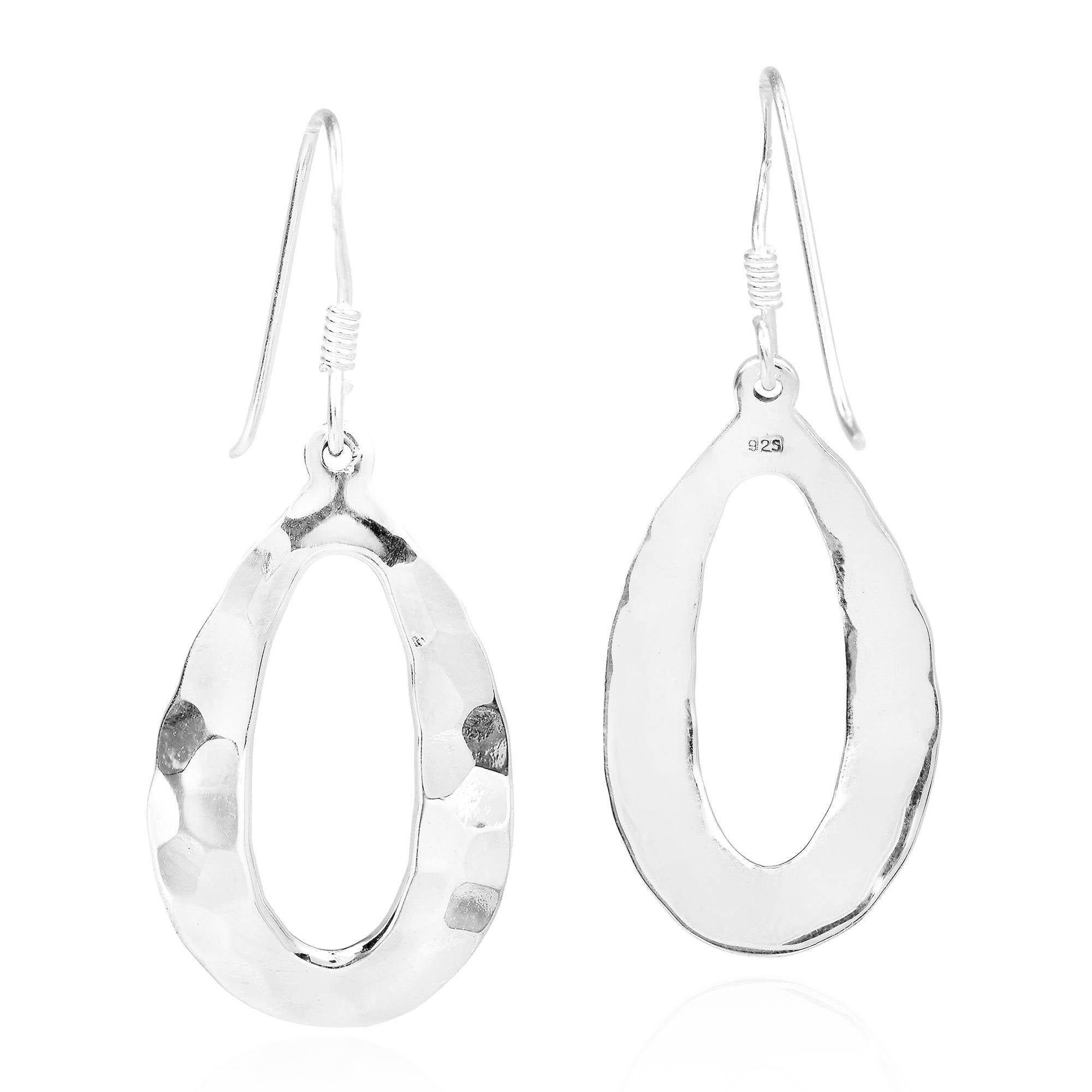 Hammered Curved Drop 925 Sterling Silver Earrings