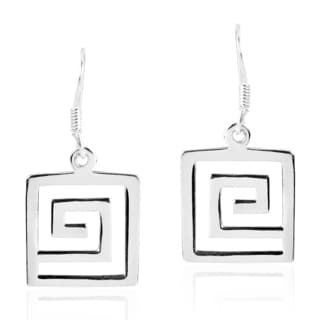 Greek Key Maze Geometric Pattern Sterling Silver Earrings (Thailand)