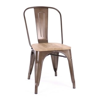 Amalfi Rustic Matte Light Elm Wood Side Chairs (Set of 4)