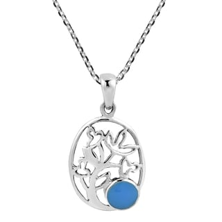 Full Bloom Turquoise Oval Tree of Life .925 Silver Necklace (Thailand)