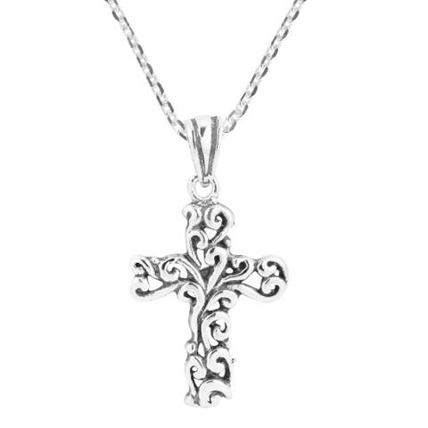 Handmade Detailed Filigree Swirl Cross Sterling Silver Necklace (Thailand)