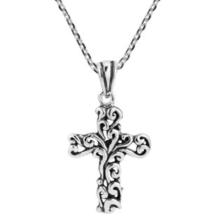 Handmade Detailed Filigree Swirl Cross Sterling Silver Necklace (Thailand)