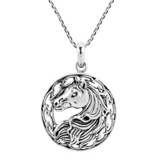 Round Framed Winning Horse Portrait .925 Silver Necklace (Thailand)