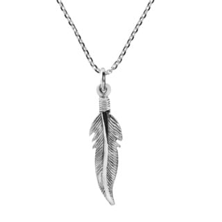 Mini Tribal Feather Sterling Silver Chain Necklace (Thailand)
