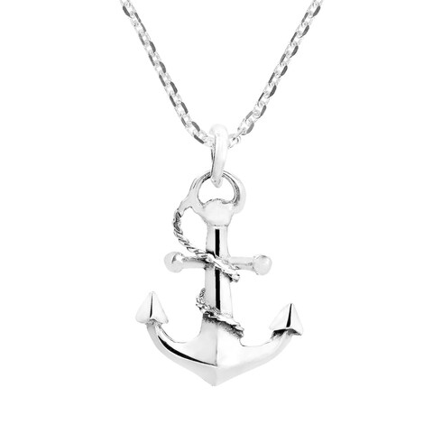 Handmade Nautical Rope and Anchor Sterling Silver Necklace (Thailand)