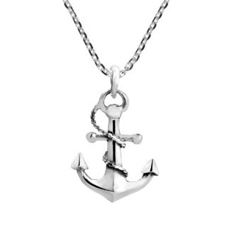 Handmade Nautical Rope And Anchor Sterling Silver Necklace Thailand