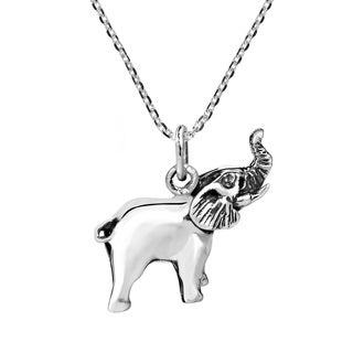 Handmade Triumphant Realistic Elephant Charm .925 Silver Necklace (Thailand)