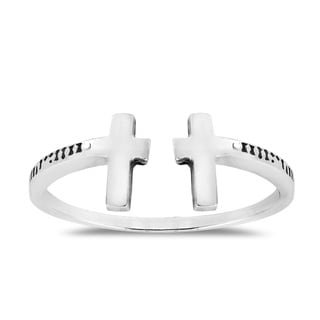Double Cross Open Wrap Sterling Silver Ring (Thailand)