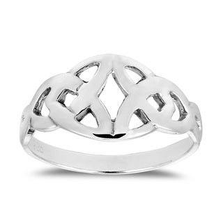 Interlace Celtic Heart Wrap Sterling Silver Ring (Thailand)
